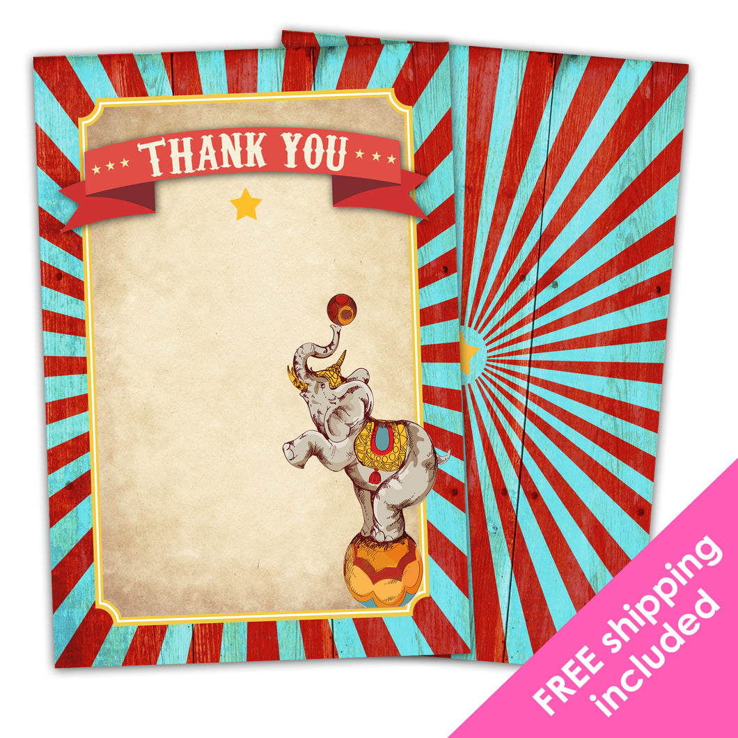 Greatest Showman Thank You Card for a Vintage Circus Themed Birthday