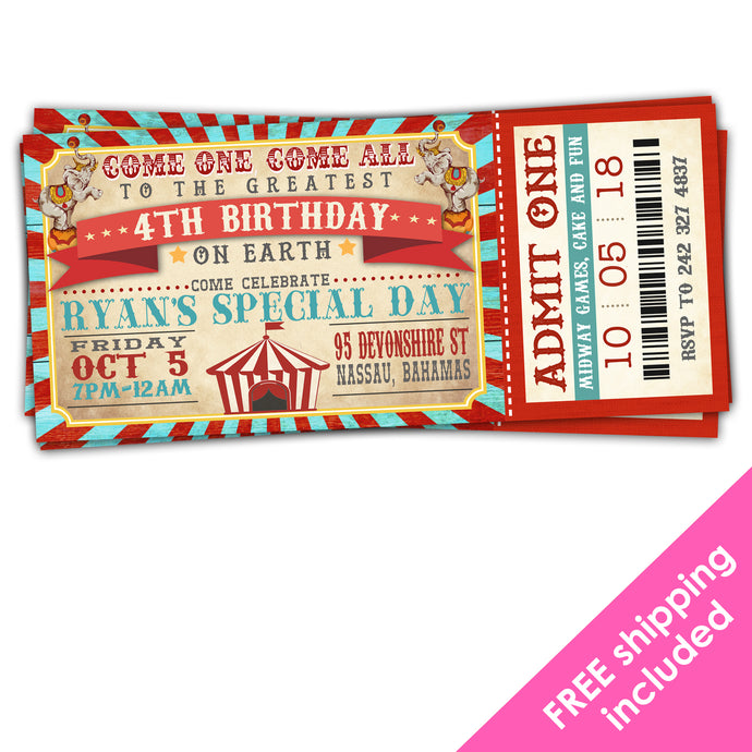 Greatest Showman Birthday Ticket Invitation for a Vintage Circus Birthday Party
