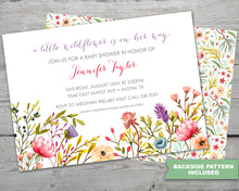 Load image into Gallery viewer, Wild Flowers Baby Shower Invitation Set for a Wild Flowers Spring Baby Shower Theme