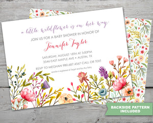 Wild Flowers Baby Shower Invitation Set for a Wild Flowers Spring Baby Shower Theme