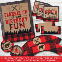 Load image into Gallery viewer, Little Lumberjack Birthday, Little Lumberjack Party Decorations, PRINTABLE Little Lumberjack Party Kit, Little Lumberjack Birthday Party