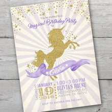 Load image into Gallery viewer, Unicorn Invitation, Unicorn Party Invite, Unicorn Birthday Party Invitation, Unicorn Invitations, Unicorn Invites, PRINTABLE, Unicorn Party