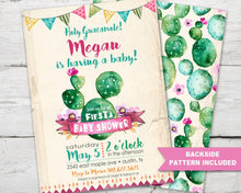 Load image into Gallery viewer, Fiesta Baby Shower Invitation for a Cinco De Mayo Baby Shower or Cactus Baby Shower