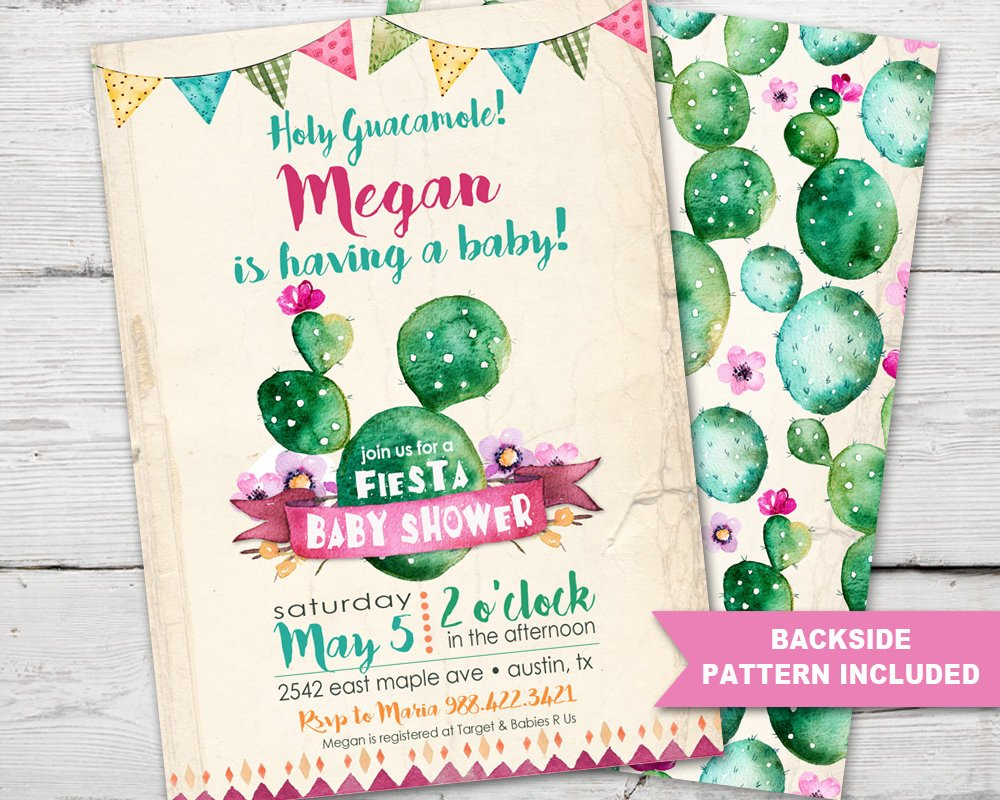 Fiesta Baby Shower Invitation for a Cinco De Mayo Baby Shower or Cactus Baby Shower