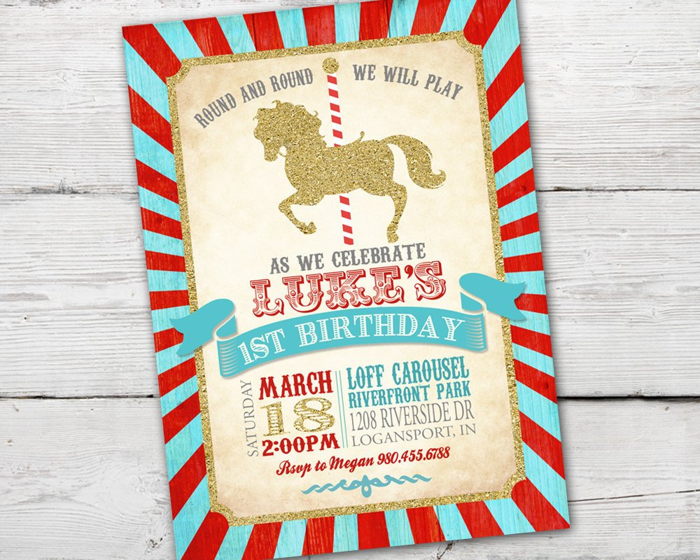 Printable Carousel Birthday Invitation for a fun Merry Go Round Birthday Party