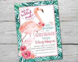Printable Flamingo Baby Shower Invitation, Flamingo Diaper Raffle Card, Flamingo Book Request Card