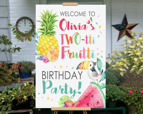 Printable Twotti Fruitti Party Sign for a Tutti Fruity Birthday Party Theme