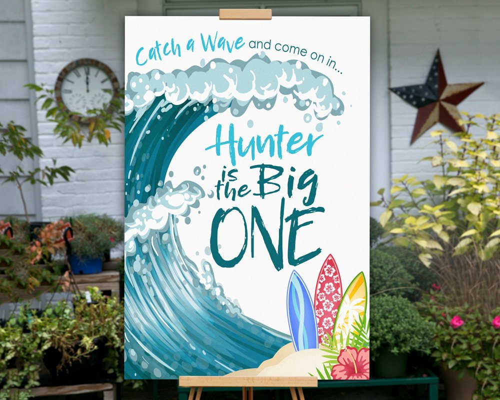 Printable The Big One Birthday Party Sign, Surfing Birthday Party Sign for a Beach Birthday Party