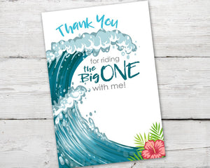 The Big ONE Thank You Card for a Beach Party Thank You Card