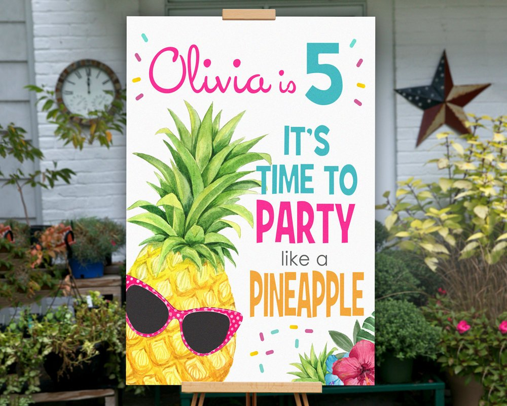 Printable Party Like a Pineapple Party Sign for a Pineapple Birthday Party Theme