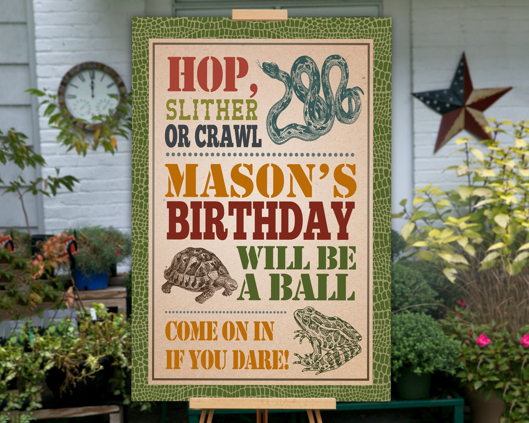 Printable Reptile Birthday Sign for a Reptile Birthday Party Theme