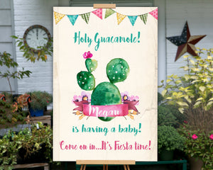 Fiesta Baby Shower Sign for a Cactus Baby Shower Fiesta Party