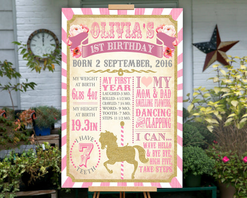 Printable Carousel First Birthday Sign with First Birthday Stats