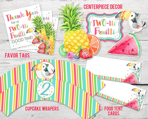 Printable Twotti Fruitti Birthday Party Kit for a Tutti Fruity Party Theme