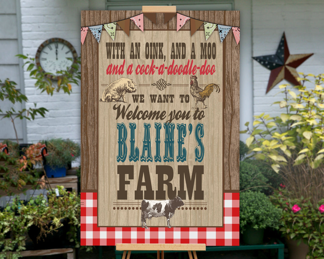Printable Farm Birthday Party Sign, Barnyard Party Sign for a Farm Birthday Party