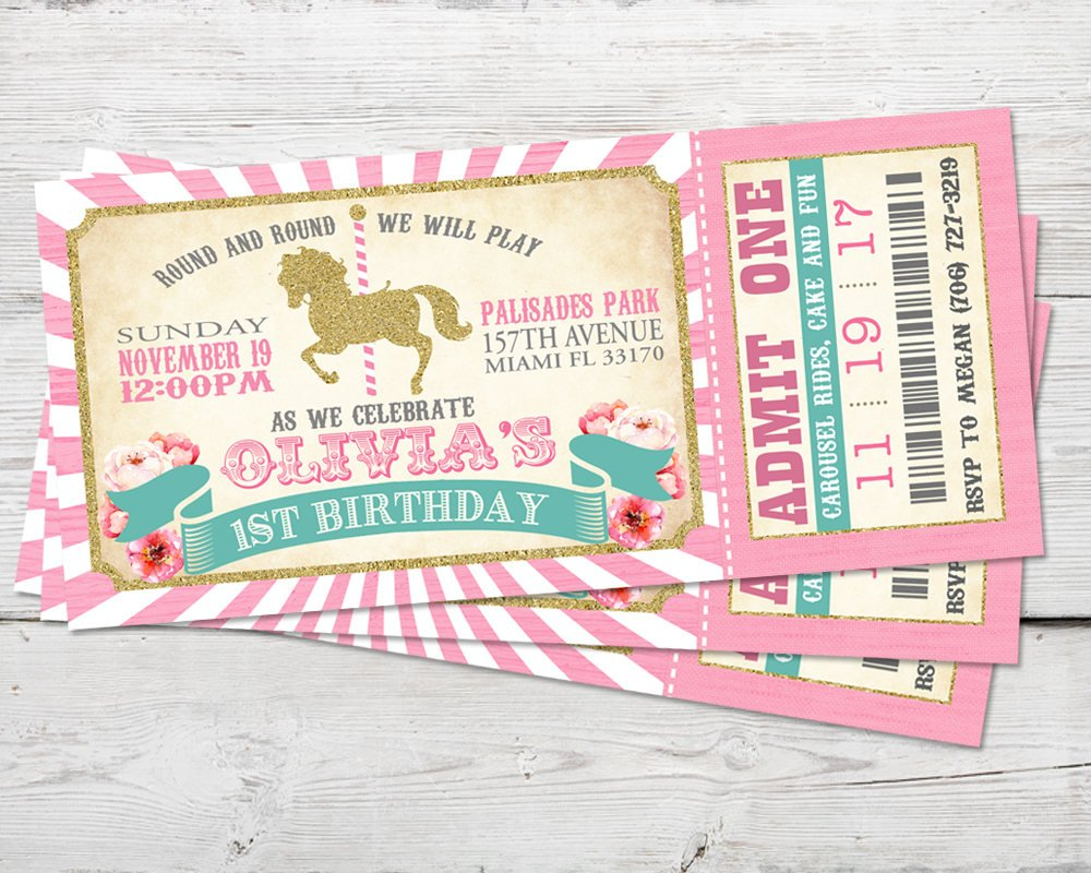 Pink Carousel Birthday Ticket Invitation perfect for Merry Go Round Party