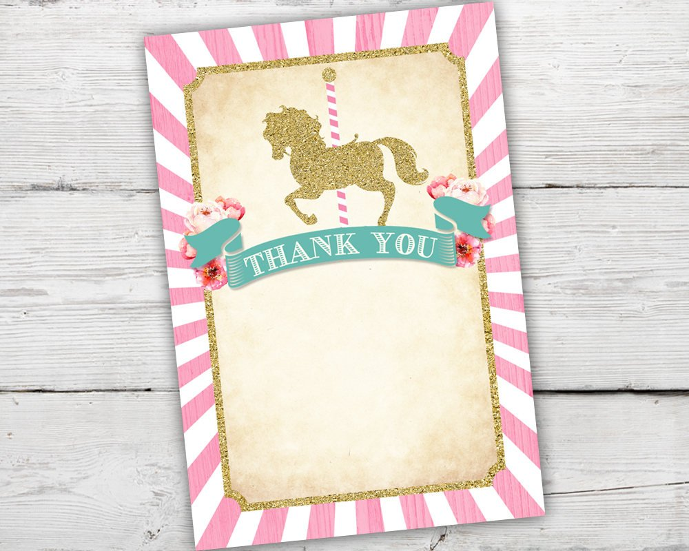 Carousel Birthday Thank You Card in Pink and Teal for a Merry Go Round Birthday Party