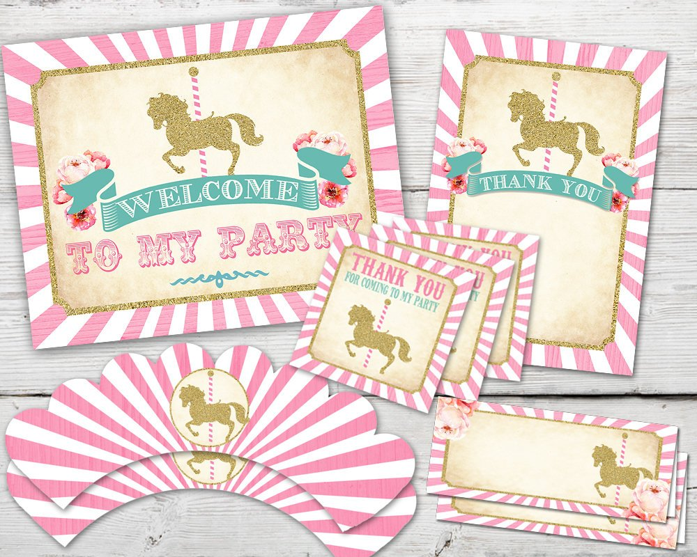 Printable Carousel Birthday Party Kit for an amazing Merry Go Round Birthday Party