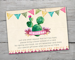 Fiesta Baby Shower Book Request Card for a Cinco de Mayo Baby Shower