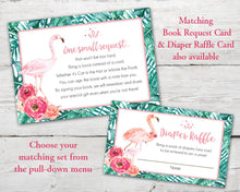 Load image into Gallery viewer, Printable Flamingo Baby Shower Invitation, Flamingo Diaper Raffle Card, Flamingo Book Request Card