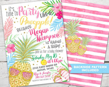 Load image into Gallery viewer, Pineapple Baby Shower Invitation PRINTABLE, Pineapple Baby Shower Invite, Tropical Baby Shower Invitation, Party Like A Pineapple Invite
