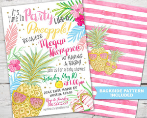 Pineapple Baby Shower Invitation PRINTABLE, Pineapple Baby Shower Invite, Tropical Baby Shower Invitation, Party Like A Pineapple Invite