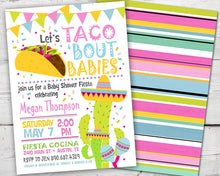 Load image into Gallery viewer, Taco Baby Shower Invitation, Taco Baby Shower Invite, Fiesta Baby Shower Invitation, Fiesta Baby Shower Invites, PRINTABLE Cactus Invitation