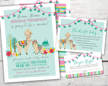 Load image into Gallery viewer, Printable Llama Baby Shower Invitation, Llama Baby Shower Diaper Raffle Card, Llama Baby Shower Book Request Card