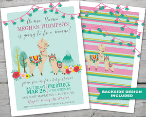 Printable Llama Baby Shower Invitation, Llama Baby Shower Diaper Raffle Card, Llama Baby Shower Book Request Card