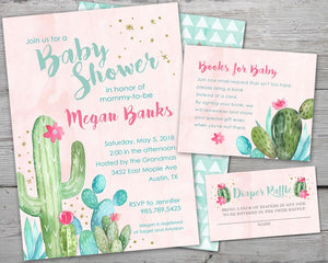 Printable Cactus Baby Shower Invitation, Cactus Diaper Raffle Card, Cactus Book Request Card