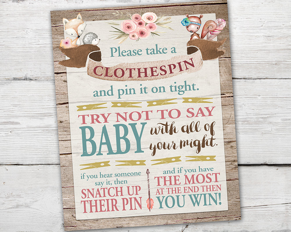 Printable Baby Shower Clothespin Game Sign for a Woodland Baby Shower
