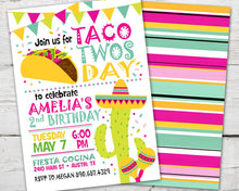 Load image into Gallery viewer, Taco Twosday Invitation, Taco Twosday Party, Taco Tuesday Invitation, Taco Tuesday Invite, Fiesta Birthday Invitation, Fiesta Birthday Party