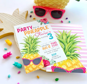 Party Like a Pineapple Birthday Invitation for a Pineapple Birthday Party Theme