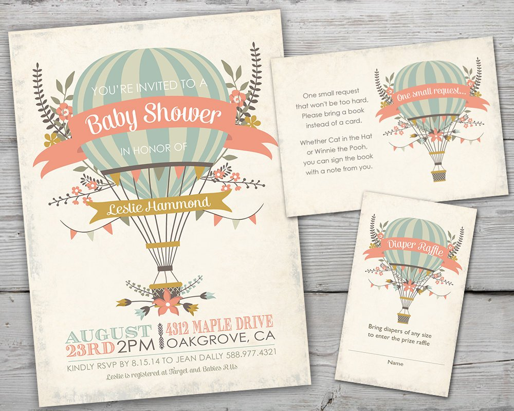 Hot Air Balloon Baby Shower Invitation, Hot Air Balloon Baby Shower Invite, Up Up and Away Baby Shower Invitation, Up Up and Away Invitation