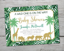 Load image into Gallery viewer, Gold Jungle Baby Shower Invitation, Gold Jungle Invitation, Jungle Baby Shower Invitation, Gold Jungle Baby Shower, Safari Invitation,