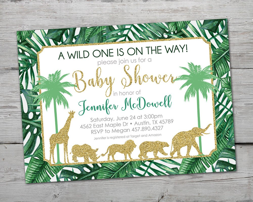 Gold Jungle Baby Shower Invitation, Gold Jungle Invitation, Jungle Baby Shower Invitation, Gold Jungle Baby Shower, Safari Invitation,