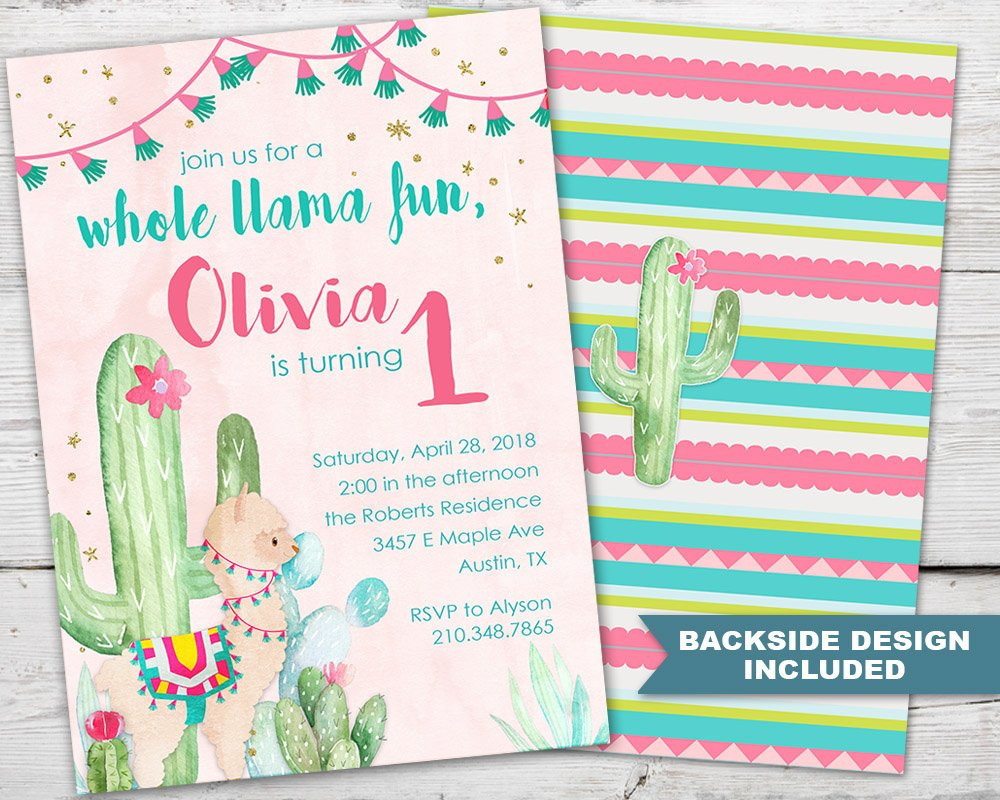Llama First Birthday Invitation, Llama Birthday Invitation, Llama Birthday Invite, Llama Birthday Party, Llama Party Invitation, PRINTABLE