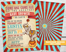 Load image into Gallery viewer, Printable Vintage Circus Baby Shower Invitation for a Circus Baby Shower Party