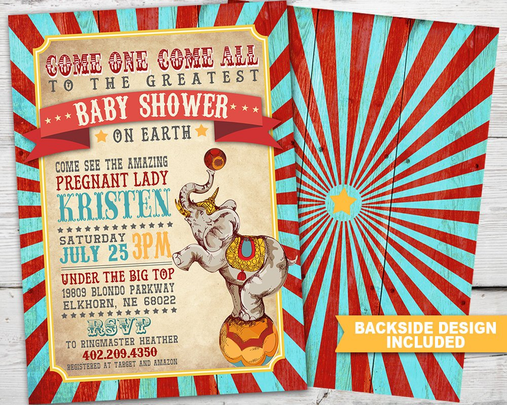Printable Vintage Circus Baby Shower Invitation for a Circus Baby Shower Party