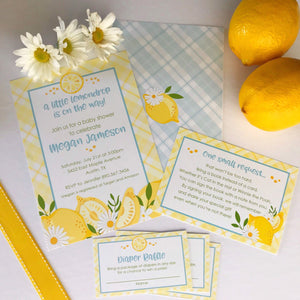 Printable Lemon Baby Shower Invitation Set for a Lemon Baby Shower Theme