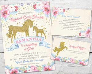 Printable Unicorn Baby Shower Invitation for a Magical Unicorn Baby Shower theme