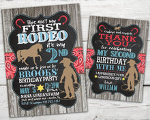 Load image into Gallery viewer, First Rodeo Birthday Invitation, First Rodeo Birthday, Cowgirl Birthday Invitation, Horse Birthday Party, DIGITAL, This Ain't My First Rodeo