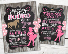 Load image into Gallery viewer, First Rodeo Birthday Invitation, First Rodeo Birthday, Cowboy Birthday Invitation, Horse Birthday Party, DIGITAL, This Ain't My First Rodeo