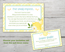 Load image into Gallery viewer, Printable Lemon Baby Shower Invitation Set for a Lemon Baby Shower Theme