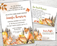 Load image into Gallery viewer, Printable Woodland Baby Shower Invitation for a Woodland Forest Baby Shower Party