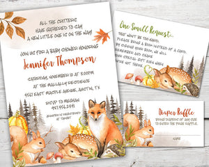 Printable Woodland Baby Shower Invitation for a Woodland Forest Baby Shower Party