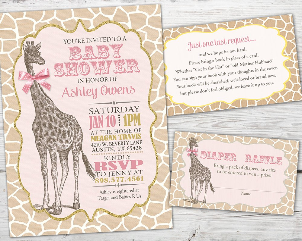 Printable Giraffe Baby Shower Invitation for a Giraffe Baby Shower Party