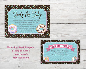 Printable Diapers and Donuts Baby Sprinkle invitation for a Donut Baby Shower Party