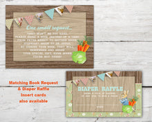 Load image into Gallery viewer, Printable Peter Rabbit Baby Shower Invitation set for a Peter Cottontail Baby Shower Theme