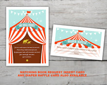 Load image into Gallery viewer, Printable Circus Baby Shower Invitation for a Fun Circus Themed Baby Shower